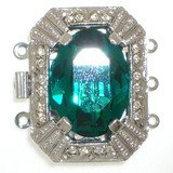 Clasp with 3 rows and spring tongue mechanism; Crystal colour emerald 205 13966-03-06-00-a13