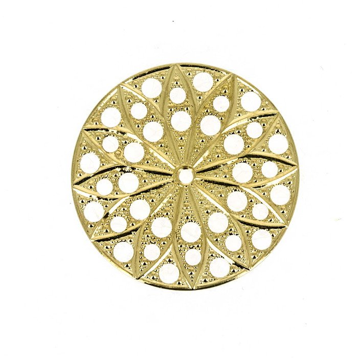 Filigrees round 22mm 2 pices. 23 carat gold plated