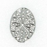 Filigrees oval ca. 29x19 mm 2 pices real rhodium plated