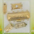 Vintage aluminum clasp from 1975 5 pieces Random mixed package with clasps, partially with crystal or pearls, gold colored. Every single package is going to be with different content 1c002-00-66-05-VIN