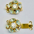 Clasp with 3 rows and springtongue mechanism with 6 Swarovski-Cristals replacement for clasp 12897 12898-03-01-00-001