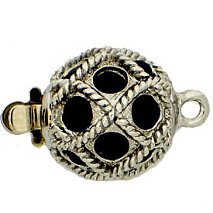 Ball clasp with springtongue mechanism color: jet (black)