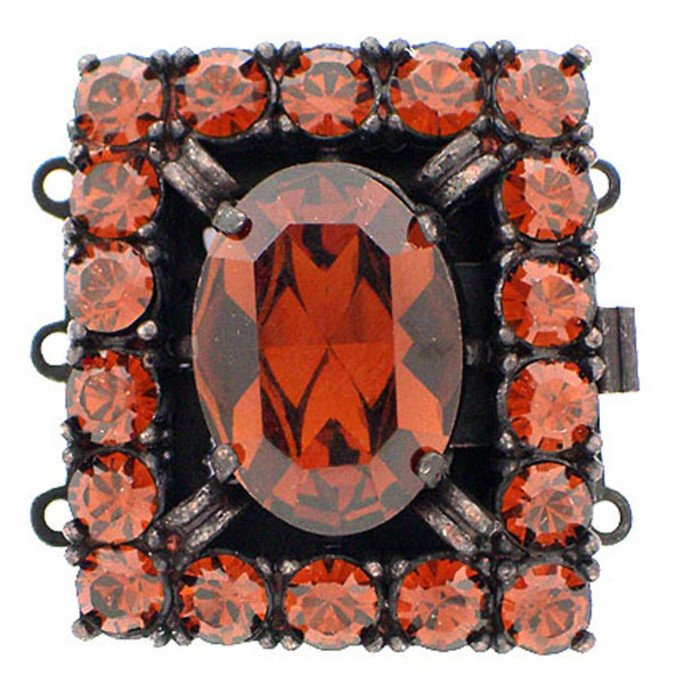 multistrand box clasp with 3 rows and spring tongue mechanism