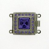 Clasp with 2 rows and springtongue mechanism colour: tanzanite